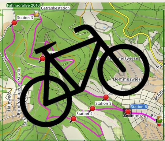 Kart der Jungscharfahrradralley 2016 mit Symbol-Fahrrad