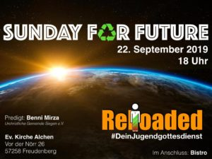 Flyer des Jugendgottesdienst Reloaded am 22. September 2019 - Thema Sunday for future