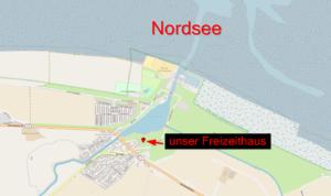 Openstreetmap Karte die die kurze Entfernung des Freizeithauses zur Nordseeküste darstellt.